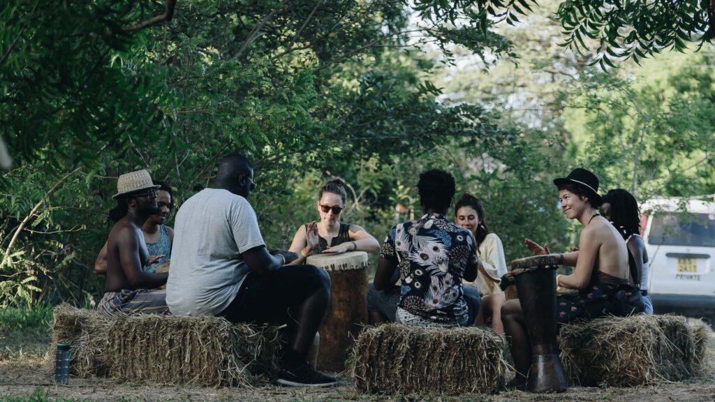 Drum circle at Beneath the Baobabs Festival, Kilifi, Kenya